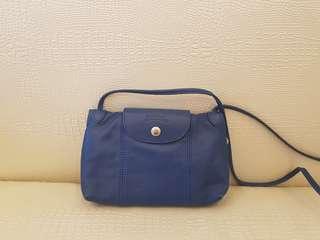 Longchamp小羊皮斜背包(寶藍色)