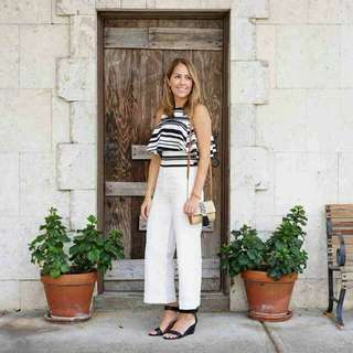🍃Two way Stripe Top and White Pants Formal Ternoset