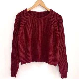 boxy premium sweater maroon