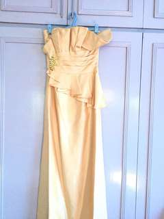 Gold strapless gown with embellishments, shawl and pouch (PLS. READ DESCRIPTION)