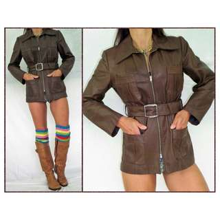 VINTAGE 70s BROWN real LEATHER JACKET LADIES 10 BELT tailored FITTED BLAZER coat
