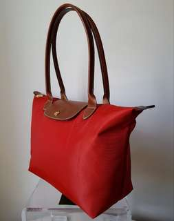 BN LONGCHAMP Le Pliage Small with Long Handles - Tomato Red