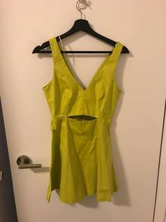 Lime green dress with cutout