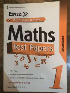 Secondary 1 Maths Test Papers