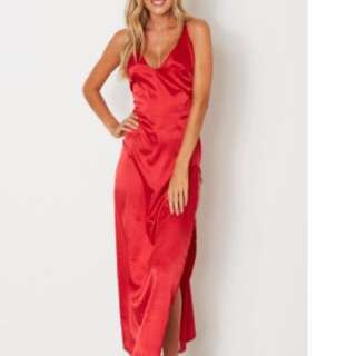 Red Satin Maxi Dress