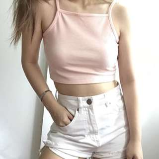 Pink Halter Cropped Top