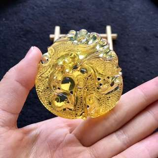 Natural Myanmar hand carved amber- dragon