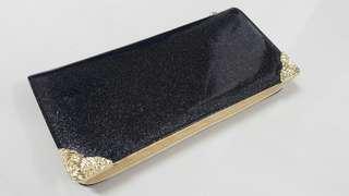 Elegant Dinner Clutch Purse Bag, Handbag, Shoulder Bag with removeble chain colour Black Gold