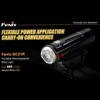 (USB Rechargeable) Fenix BC21R 880 Lumens Bicycle/Scooter Front Light