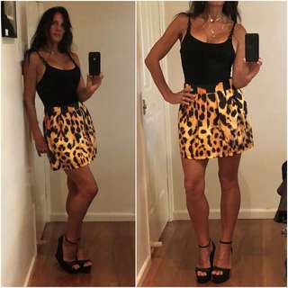 AVA HIGH WAIST LEOPARD cheetah SKATER SKIRT mini 10 NEW nwt