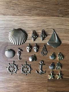Lot of Nautical Brass charms