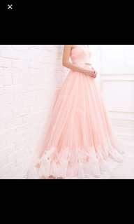 粉橙晚裝 peach bridal evening gown