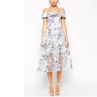 ASOS PETITE SALON Bardot Dress In Organza Floral Midi #SunriseTV
