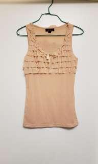全新 Veeko 粉橙色性感輕紗小背心 (較透薄穿著時要打底)
