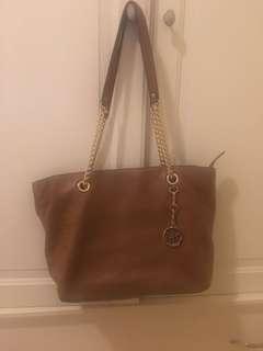 Michael Kors tan leather tote bag