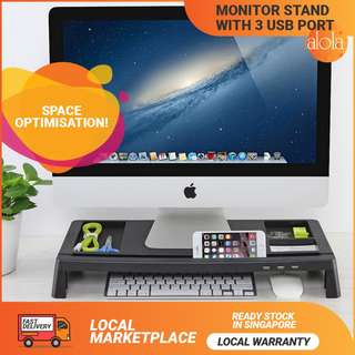 ✔FREE DELIVERY: Monitor/ Laptop/ Multimedia Stand (RISER/RACK/ ORGANIZER) with Desk Organizer and 3 USB Port (FREE DELIVERY) Local Warranty