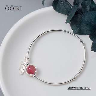 STRAWBERRY SUPER 7 WITH FEATHER CHARM 925 SILVER BRACELET