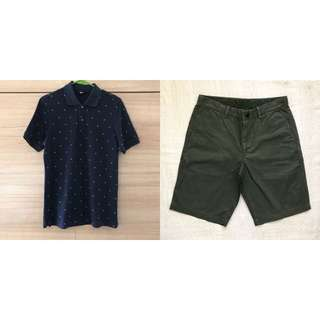 Mix & Match: Uniqlo Navy Blue Polo Shirt and Green Shorts