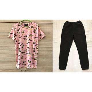 Mix & Match: Pull & Bear Pink Shirt and Uniqlo Jogger Pants