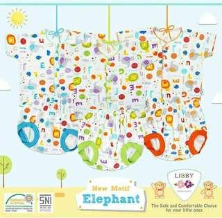 stelan tangan pendek motif elephant by libby new born