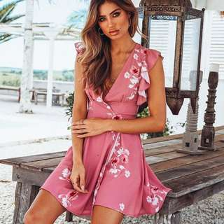 PO Sondella Floral Skater Wrap Dress