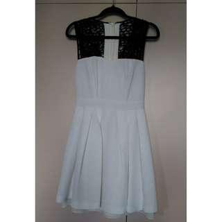 Portmans white with black lace skater dress