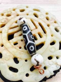 Dzi agate 9 eye bead tridacna amulet talisman