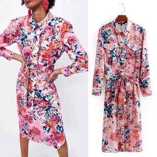 European Summer Flower Print Shirt Dress