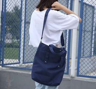 Ulzzang casual canvas bucket shoulder bag crossbody bag sling bag (PO)