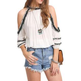White Off Shoulder TOP -new & In Stocks - sizes S,M,L