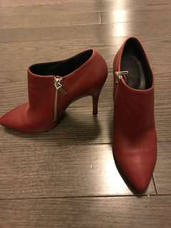 Red leather boot heels
