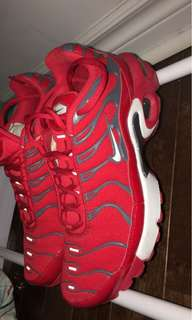All red air max plus (size 4.5 youth but 6.5 women's)