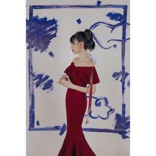 Calliope Mermaid Dress (Burgundy)