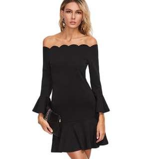 Black Off Shoulder Dress - In Stocks- sizes S,M,L