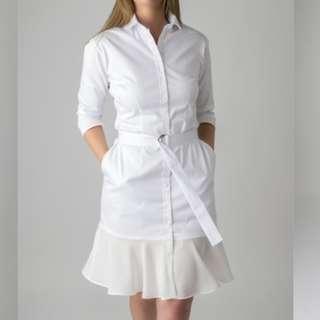White long-sleeve shirt dress with belt