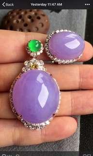 lux lavender Jadeite  ring / pendent set