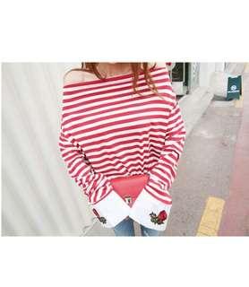 🚚 繡玫瑰花條紋上衣Made in Korea
