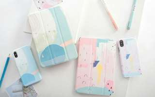 pink blue colour Ipad Casing Free Iphone Casing