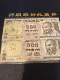 Old Green Color india 500 rupee note ($5 each)