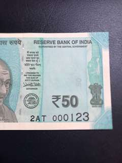 Fancy Low serial 123 - india new 50 Rupees
