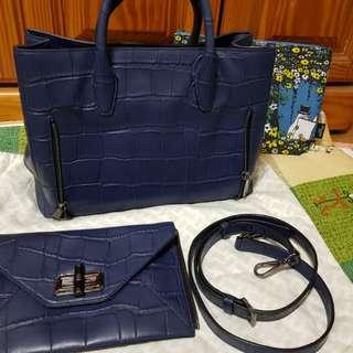 🚚 近新DVF藍色手提側背包,可拆手拿(可換物)
