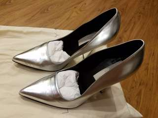 Stella McCartney 銀色粗踭高踭鞋