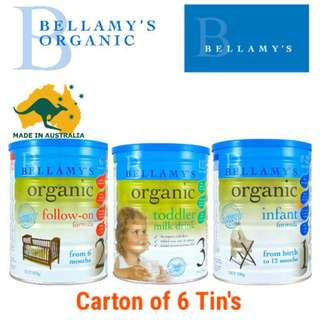 Bellamys Organic Infant Formula /Follow-On/Toddler Milk 900g x6tins[CARTON SALE] INCLUDING FREE DELIVERY