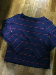 $12 mailed Uniqlo Boat Neck Long Sleeved Striped Top
