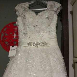 Wedding Gown未剪牌綁帶長拖尾婚紗