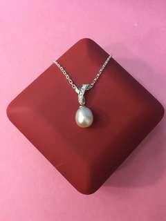 No:0651  925純銀包K白,鑲CZ+天然淡水珍珠10mm水滴形吊墜