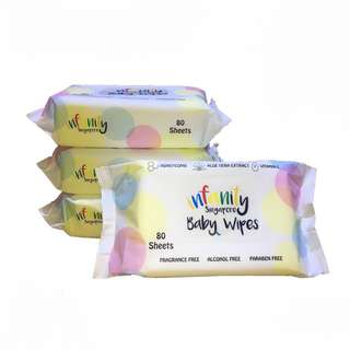 Infanity Baby Wipes 10 Pack x 80Sheets/ Made in Singapore / 99.9% Pure Water / Extra Soft / Embossed