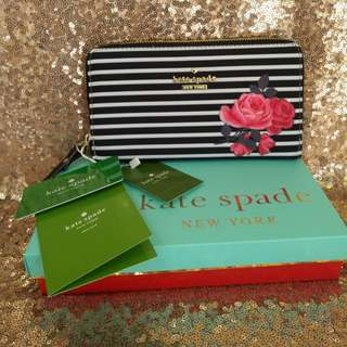 SALE! KATE SPADE Wallet Long Wallet Stripes Floral Gift Designer Wallet