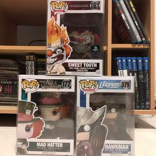 Funko Pop Set of 3 - Sweet Tooth / Mad Hatter / Hawkman