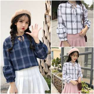 Women Checkered Peasant Top